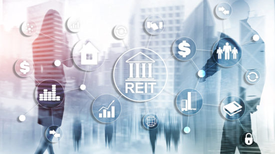 Real Estate Investment Trust REIT on double exsposure business background
