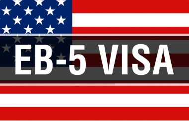 EB-5 Visa on a USA flag background